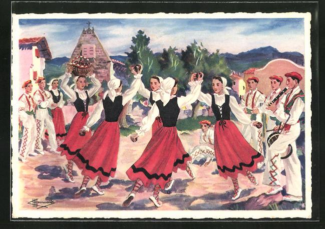 Künstler-AK Charles Homualk: Sagar-Dantza, Danse des Pommes en Navarre, Frauen beim Tanz