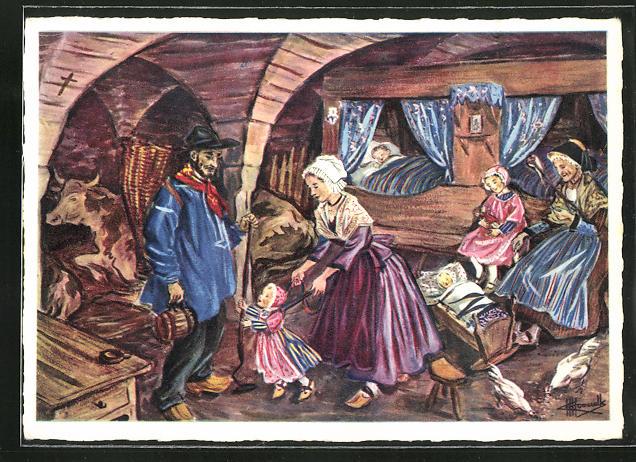 Künstler-AK Charles Homualk: Étable voutée dans laquelle les paysans se tiennent souvent l`hiver aux veillées