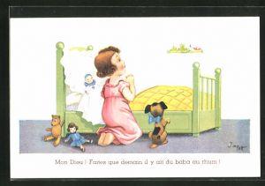 Künstler-AK sign. Jim Patt: Kleines Mädchen beim Abendgebet vor dem Bett