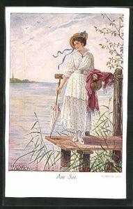 Künstler-AK Alfred Mailick: Am See, Dame mit Hut und Schirm steht auf einem Steg