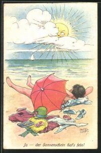 Künstler-AK Arthur Thiele: Frau beim Sonnenbaden am Strand