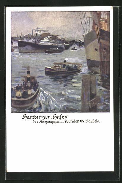 Künstler-AK Otto Amtsberg: Einlaufende Schiffe im Hamburger Hafen