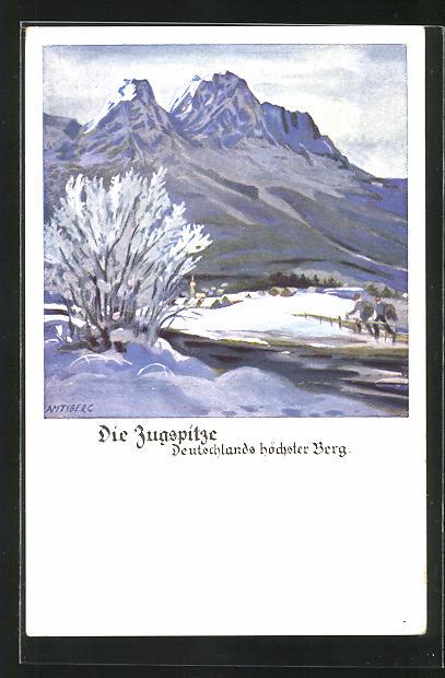 Künstler-AK Otto Amtsberg: Die Zugspitze, Deustchlands höchster Berg