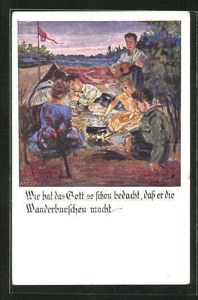 Künstler-AK Otto Amtsberg: Pfadfinder am Lagerfeuer