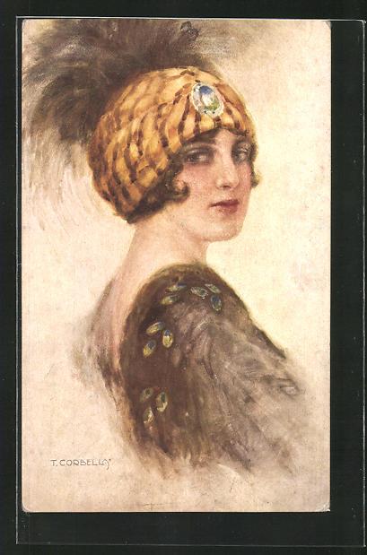 Künstler-AK Tito Corbella: Junge Frau mit modischem Hut