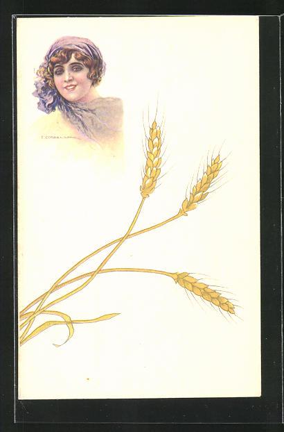 Künstler-AK Tito Corbella: Lächelnde Frau mit Kopftuch und Getreideähren