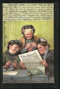 Künstler-AK Fritz Reiss: Frau lesen freudig die Nachrichten im Neuen Tagesblatt