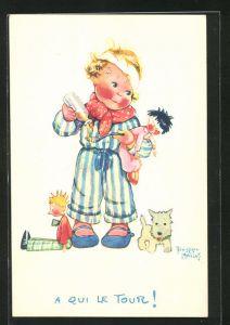 Künstler-AK Beatrice Mallet: Kleines Kind spielt mit seinen Puppen