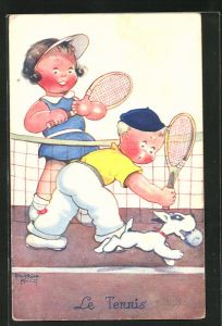 Künstler-AK Beatrice Mallet: Kleiner Hund stiehlt Tennisspielern den Ball