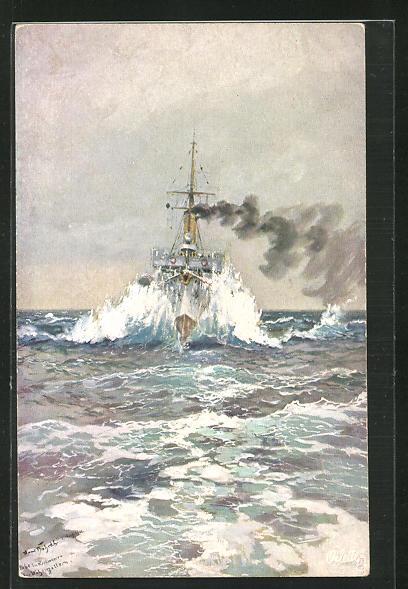 Künstler-AK Hans Bohrdt: Kriegsschiff kleiner Kreuzer Niobe auf hoher See