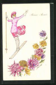 Künstler-AK Xavier Sager: Bonne Annee, junge Dame fährt Ski