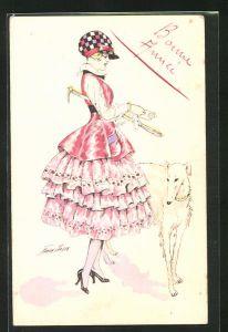 Künstler-AK Xavier Sager: Bonne Annee, Mädchenim Kleid mit Hund