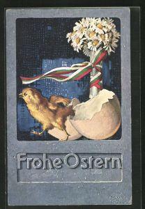 Künstler-AK Maxim Trübe: Frohe Ostern, Küken schlüpft aus dem Ei