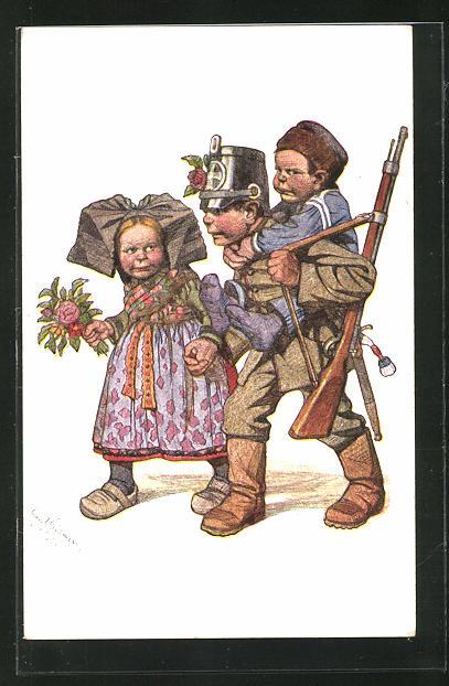 Künstler-AK Emil Beithan: Kindersoldat mit Junge auf dem Rücken