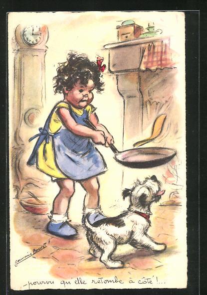 Künstler-AK Germaine Bouret: Mädchen mit Pfanne, Hund