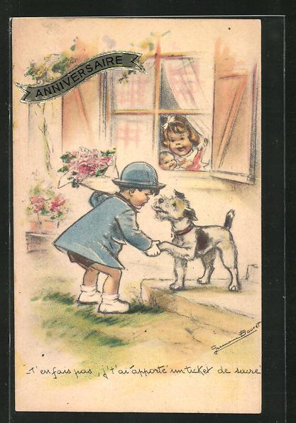 Künstler-AK Germaine Bouret: Junge mit Blumenstrauss, Hund gibt ihm die Pfote