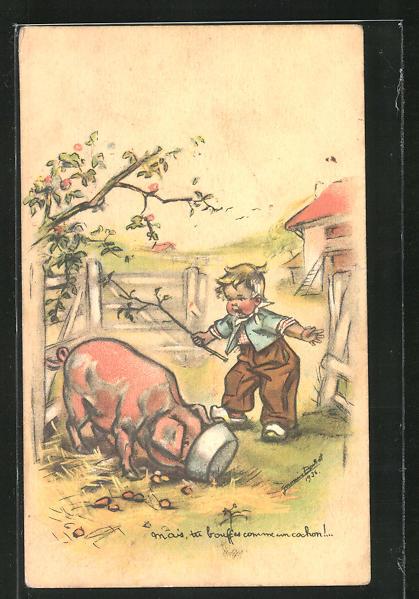 Künstler-AK Germaine Bouret: Junge versucht fressendes Schwein aufzuscheuchen