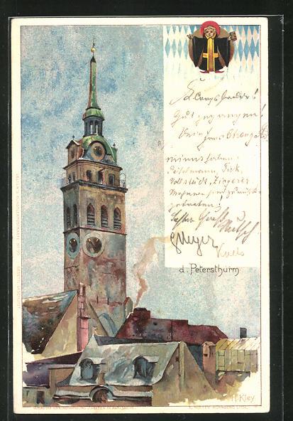 Künstler-AK Heinrich Kley: München, Der Petersthurm