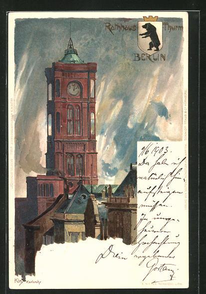 Künstler-AK Heinrich Kley: Berlin, Rathausthurm