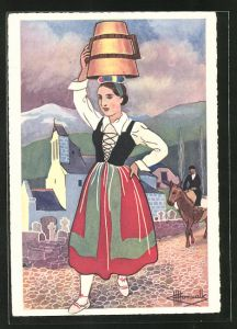 Künstler-AK Charles Homualk: En Parcourant Le Pays Basque, Jeune Fille des Environs de Tardets En Costume de Fete