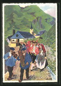 Künstler-AK Charles Homualk: En Parcourant Le Béarn, Une Noce A La Vallée D'Ossau