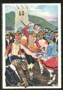 Künstler-AK Charles Homualk: En Parcourant Le Pays Basque, La Danse Du Verre