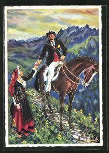 Künstler-AK Charles Homualk: En Parcourant Le Comminges, Luchon, Guide A Cheval