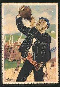 Künstler-AK Charles Homualk: En Parcourant Le Pays Basque, Paysan Buvant A La Gourde