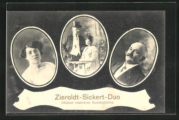 AK Portraits Variete-Künstler Zieroldt-Sickert-Duo