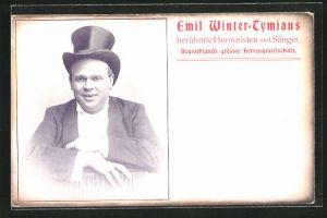 AK Portrait Komiker Emil Winter-Tymians mit Zylinder