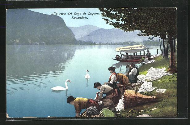 AK Waschfrauen am Lago di Lugano