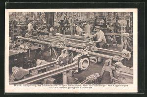 AK Eisenbahn-Fabrikarbeiter, Nachprüfung des Stichmasses der fertigen Treibstangen