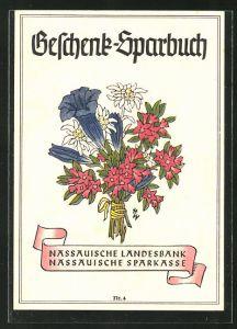 AK Nassauische Landsbank und Sparkasse, Geschenk-Sparbuch, Blumenstrauss