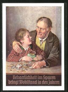 AK Sparkasse München, Beharrlichkeit im Sparen bringt Wohlstand in den Jahren, Opa & Enkel zählen erspartetes Geld