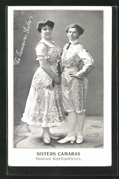 AK Variete-Künstler Sisters Camaras, Hand- und Kopf-Equilibristen