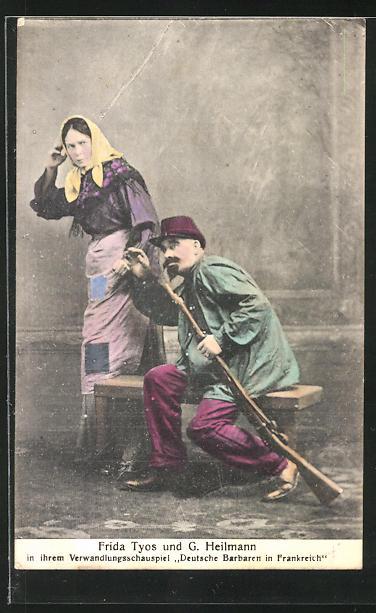 AK Variete, Frida Tyos und G. Heilmann in ihrem Verwandlungsschauspiel Deutsche Barbaren in Frankreich