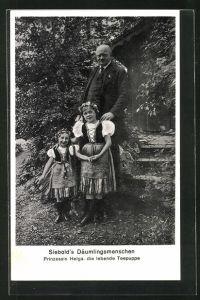AK Siebold`s Däumlingsmenschen, Prinzessin Helga, die lebende Puppe, Liliputaner