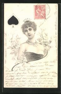 AK Pik Dame beim Kartenspiel