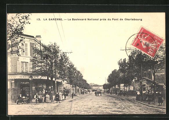 AK La Garenne, Le Boulevard National près du Pont de Charlebourg