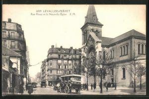 AK Levallois-Perret, Rue Rivay et la Nouvelle Eglise