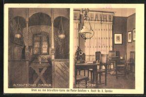 AK Berlin-Spandau, Unteroffizier-Kasino d. Pionier-Bataillons v. Rauch, Innenansichten altdeutsches Zimmer u. Lesezimmer