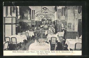 AK Berlin-Schöneberg, Hotel-Restaurant Zum Vesuv, Bülowstrasse 14, Innenansicht