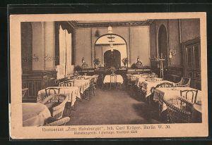 AK Berlin-Schöneberg, Restaurant Zum Habsburger, Habsburgerstr. 1, Innenansicht