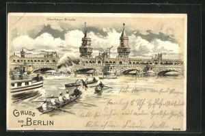 Lithographie Berlin-Friedrichshain, Boote drängen sich vor der Oberbaumbrücke