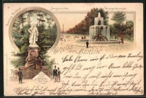 Lithographie Berlin-Tiergarten, Wrangelbrunnen und Siegesallee, Lessing-Denkmal
