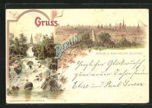 Lithographie Berlin-Kreuzberg, Aussicht vom Kreuzberg, Wasserfall im Victoria-Park