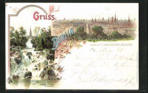 Lithographie Berlin-Kreuzberg, Aussicht vom Kreuzberg, am Wasserfall im Victoria-Park