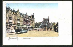 Goldfenster-AK Dresden-Blasewitz, Schillerplatz mit Strassenbahn und leuchtenden Fenstern