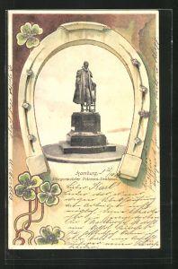Glitzer-Perl-AK Hamburg, Bürgermeister Petersen-Denkmal mit Hufeisen Rahmen und Kleeblatt