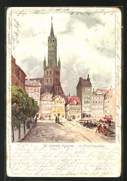 Künstler-AK Carl Biese: Hamburg, St. Jacobi Kirche
